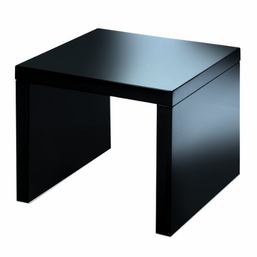 Levv High Gloss Side Table, Black