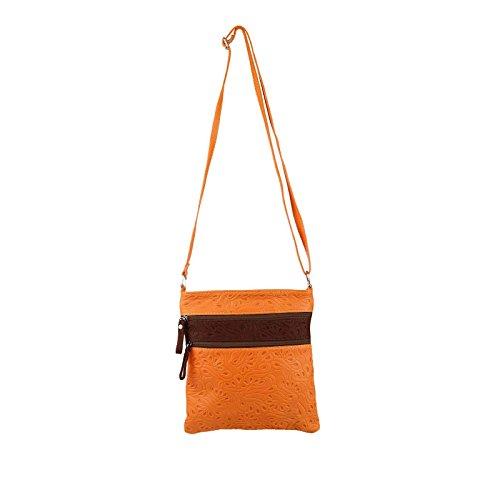 OBC Made in Italy Vintage Retro Style Ornament Vera Pelle LEDER Nappaleder Tasche Bag Schultertasche Umhängetasche Tablet Ipad mini bis ca. 8 Zoll CrossOver 23x24x1,5 cm (BxHxT) Orange-Braun