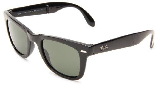 Ray Ban Unisex Sonnenbrille Wayfarer Folding, (Gestell: Schwarz, Gläser: Polarized Grün Klassisch 601/58), 50 mm