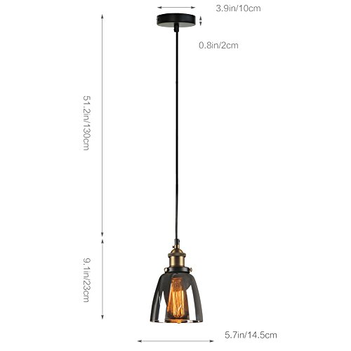 Fuloon modern vintage industrial glass shade pendant light retro fuloon modern vintage industrial glass shade pendant light mozeypictures Gallery