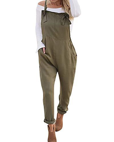 VONDA Damen Latzhose Retro Lange Overall Größe Jumpsuit Baggy Sommerhose Armee-Grün04 L/EU42 Lange Frauen Jumpsuits