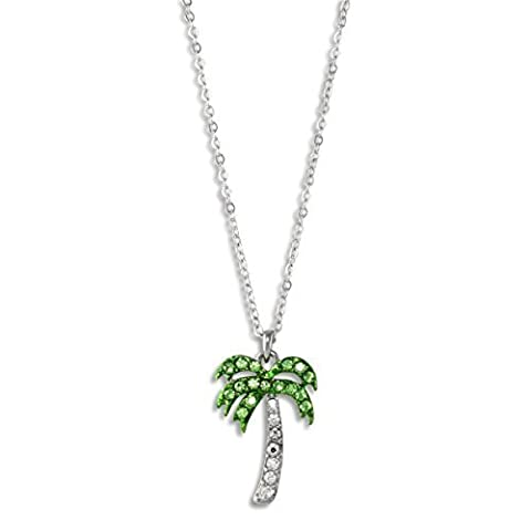 Tropical Palm Tree Pendant Beach Necklace Silver Tone Clear Green Crystals by Heirloom Finds