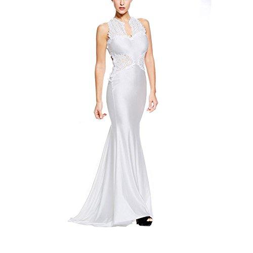 PU&PU Femmes Formal / Travail / Partie Broderie Patchwork Col rond sans manches FishTail Maxi Robe de soirée, Open Back white