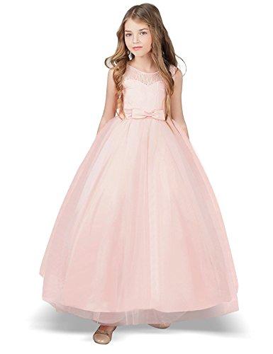 NNJXD Mädchen Kinder Spitze Tüll Hochzeit Kleid Prinzessin Kleider Größe (170) 12-13 Jahre Rosa