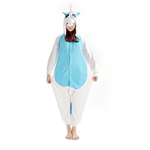 Casa Kigurumi Pigiama Unisex Adulto Anime Onesie Cosplay Halloween Costume Cartone Animale Pigiama Blu Unicorn