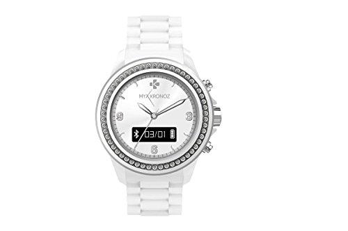 MyKronoz Zeclock Swarovski Smartwatch Analogico, Bianco, Taglia Regolabile