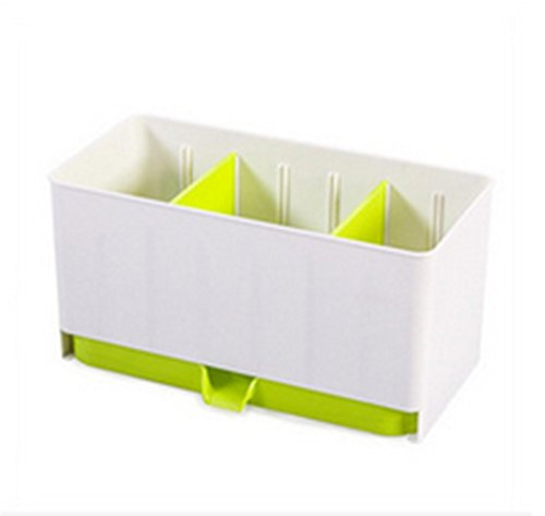 Multi-Functional Self Draining Drying Flatware Caddy Plastic Utensil Cutlery Organizer Holder (Green)