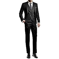 Suit Me Hombres 3 piezas juego delgado fiesta de bodas en forma trajes de esmoquin de chaqueta, chaleco, pantalones negro
