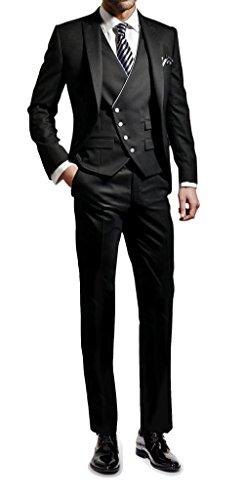 Suit Me Herren 3-Teilig Anzug Slim Fit Hochzeiten Party Smoking Anzuege Sakko,Weste,Hose Schwarz L