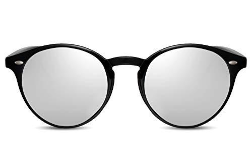 Cheapass Sonnenbrille Verspiegelt Schwarz Silber UV-400 Rund-e Designer-Brille Plastik Damen Herren