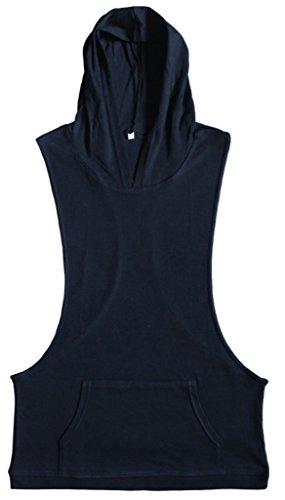 La Vogue-T-Shirt Senza Manica Uomo Canottiera con Cappuccio Nero