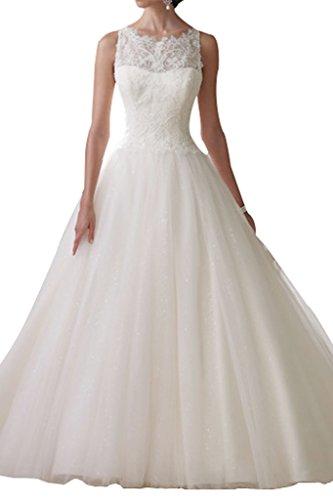 Charmant Damen Glamour Elfenbein Spitze Hochzeitskleider Brautkleider Brautmode Lang Prinzess...