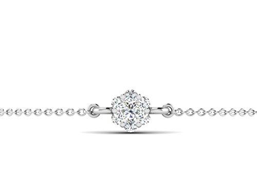 Or Blanc 9 ct Bracelet Diamant en forme de Fleur, 0.15 Ct Diamant, GH-SI, 0.97 grammes.