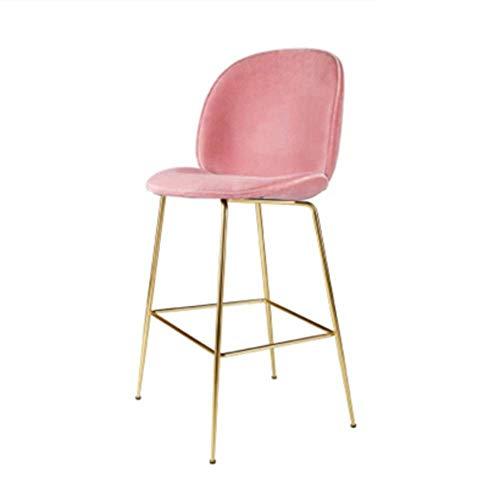 Barhocker mit Einstellbarer Höhe Barhocker Persönlichkeit kreativ, Rückenlehne Stoff Sitz, Moderne Rückenlehne Bar Stuhl Küche Einstellbare Gasdrehvorrichtung (Farbe : Rosa) (Rosa Antiker Stuhl)