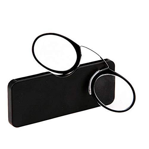 PANGHU Unisex Zwicker Lesebrille Pince Nez Mini Brille Ohne Bügel für Damen und Herren Dioptrien Stärke mit Brillenetui Hardcase