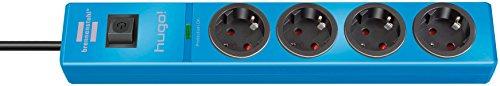 Brennenstuhl hugo! Steckdosenleiste 4-fach mit Überspannungsschutz (2m Kabel und Schalter, Gehäuse aus bruchfestem Polycarbonat) Farbe: blau