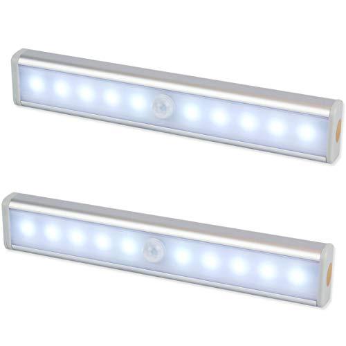 """Luce Notte LED ,EMIUP Armadio con Sensore Luce e di Movimento, alimentato a batteria, senza cavi, con striscia magnetica e adesivo """"3M"""", per Armadio, Scale, Corridoio, Cucina, bagno (2pezzi)"""