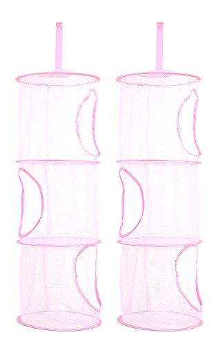 TIRSU 2 Stück Pink Mesh-hängender Speicher-Korb , Hängeaufbewahrung ,3 Fächer zusammenklappbare Network Storage Raum speichern Beutel-Organisator für Spielzeug, Kleidung usw.Lz0001-pink-3tr