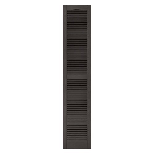 12 in. x 36 in. Louvered Vinyl Exterior Shutters Pair in #018 Tuxedo Gray by Builders Edge (Edge-tuxedo)