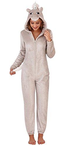 Loungeable Damen Jumpsuit Overall Tiere Gesichter Öhrchen 3D Kapuze Einhorn Silber Schimmer 798053SIL M