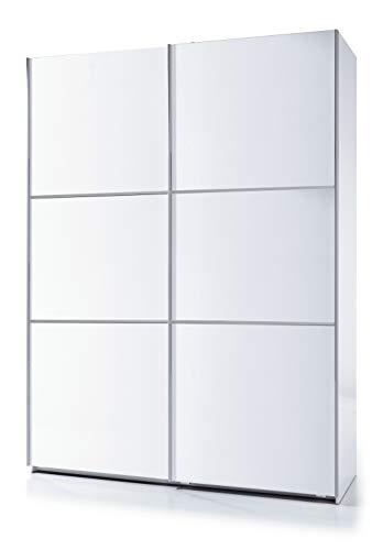 Esidra Armadio Guardaroba Moderno, 2 Ante scorrevoli, Laminato Bianco, 200 x 150 x 63 cm