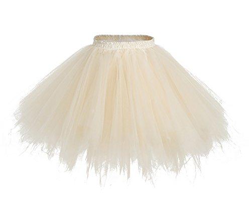 HomRain 1950er Petticoat Kurz Ballett Tanzkleid Tutu Tüllrock Rockabilly Unterrock Champagne XL
