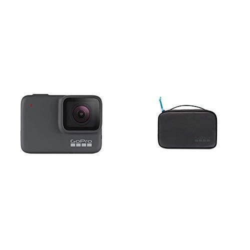 GoPro HERO7 Silver - Cámara de acción (sumergible hasta 10 m, pantalla táctil, vídeo 4K HD, fotos de 10 MP) color gris + Bolsa compacta, color negro