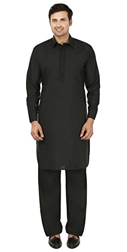 Maple Clothing Mens Pathani Kurta Pyjama Indische Partei Wear (Schwarz, XXL) (Stickerei Kurta)