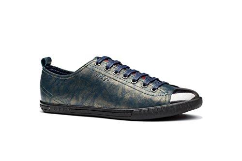 OPP Classique Sneakers Chaussures de Ville en Cuir à Lacets Homme Vert