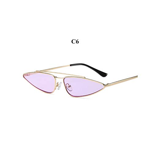 Sportbrillen, Angeln Golfbrille,Vintage Small Cat Eye Glasses Women Unique Style Retro Sunglasses Metal Fashion Catwalk Sun Glasses Anti-UV Goggles C6