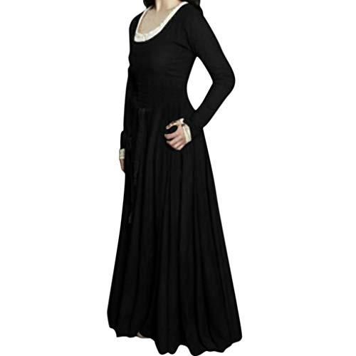 Damen Mittelalter Kleid Gewand Gothic Spitze Langarm Kleider Viktorianischen Königin Kostüme Retro Renaissance Medieval Princess Dress Erwachsene Cosplay Karneval Fasching Halloween Weihnachten Party