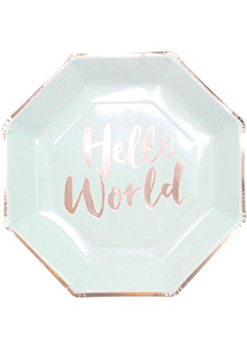 Hello World - Mint & Rose Gold Paper Plates -