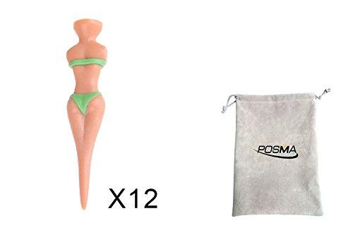 POSMA t040bx Damen T-Shirt Golf-Tees, Kunststoff, bunt, zufällige Farbe, 12er Set + Geschenkbeutel aus