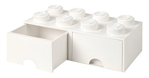 Cassettiera Mattoncino Lego 8 Bottoni, 2 Cassetti, Cassa Portaoggetti Impilabile, 9.4 L