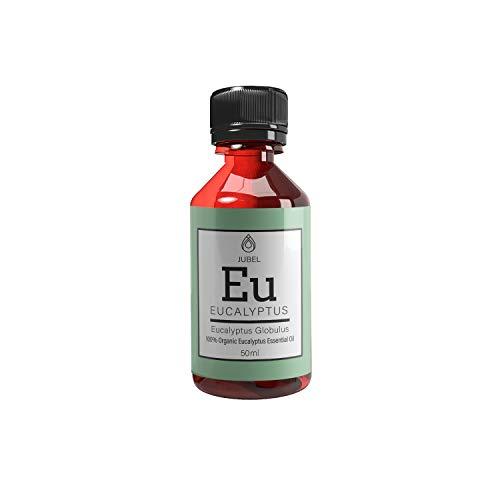 Ätherisches Eukalyptusöl von JUBEL 50 ml I Massageöl, Aromatherapie & Duftöl I Biologisch und vegan I Natürliches Mittel gegen Akne & Stress I Nachhaltige Alternative zu Aloe Vera Gel -