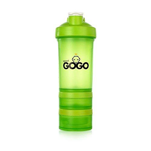Sport GOGO - Botella mezcladora de batidos de proteínas en 3 partes, 500 ml - verde