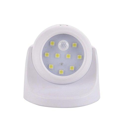 MMLC Bewegungsmelder Nachtlicht Lampe 360° Rotation SMD LED für Treppen Außerhalb des Hauses Beleuchtung Lichter (Weiß) -