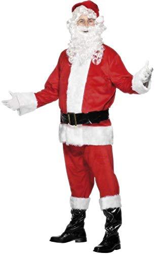 Fancy Me Herren 6- teiliges Velours Weihnachtsmann Santa Claus mit Bart Kostüm Kleid Outfit M-XL - Rot, Medium (38-40