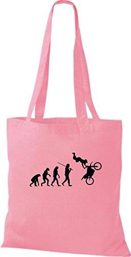 ShirtInStyle Stoffbeutel Jute Evolution Motorrad Biken Stunt Freebike Biker diverse Farbe rosa