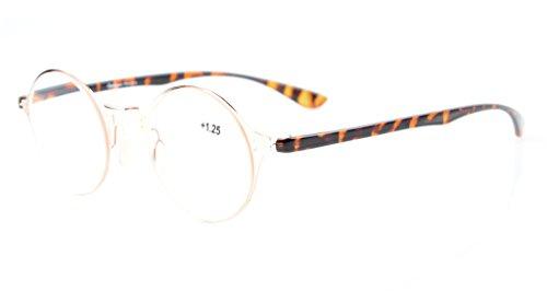 98be32aea0 Eyekepper ligero Flex redondas gafas de lectura con estilo único Crystal  Clear Vision Gold +4.0
