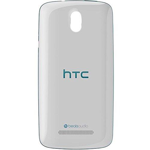 Original HTC Akkudeckel white-blue / weiß-blau für HTC Desire 500 (Akkufachdeckel, Batterieabdeckung, Rückseite, Back-Cover) - 74H02590-01M