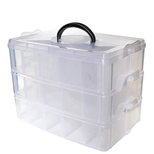 Kurtzy scatola portaoggetti in plastica a 3 ripiani riporre & organizzare bobine filo cucito ricamo perline forniture make-up smalti unghie accessori gioielli & artigianato- 30 scomparti (1 pack)