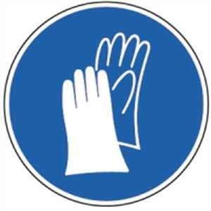 Aufkleber Handschutz benutzen gemäß ASR A1.3/ BGV A8, Folie selbstklebend 10cm Ø (Handschuhe, Schutzkleidung) praxisbewährt, wetterfest (Sicherheit-handschuh)