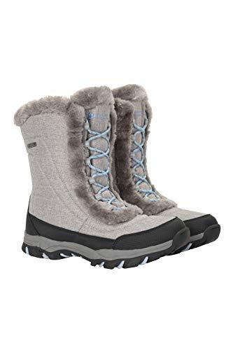 Mountain Warehouse Ohio Womens Snow Boots - Schneesichere Damen-Winterschuhe, strapazierfähiges und atmungsaktives Isotherm-Futter und Gummilaufsohle - Für Passform Hellgrau 39 EU