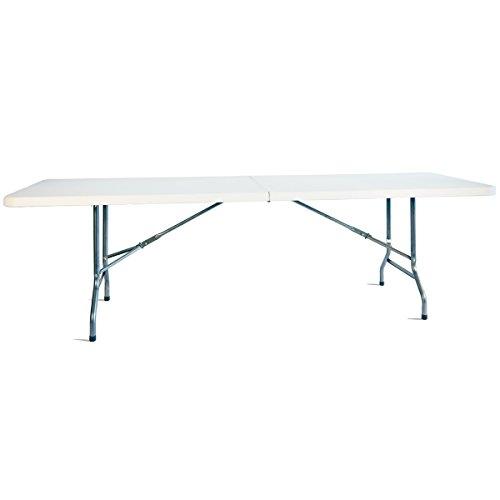 Aluminium Campingtisch Zusammenklappbar. Platzsparend. Mehrzwecktisch für Indoor und Outdoor zum Zelten, Koffertisch, Campingtisch Hochwertiger Klapptisch mit Griff und Sicherheitsriegel, Weiß