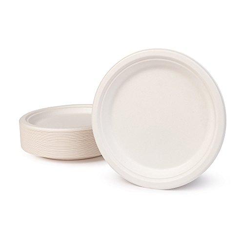 BIOZOYG Vaisselle à Base Bagasse I 500 pièces d'assiettes du Canne de Sucre Blanche Ronds décolorée 22 cm I Bio jetable Vaisselle, Menu Plats et jetable fête Assiette