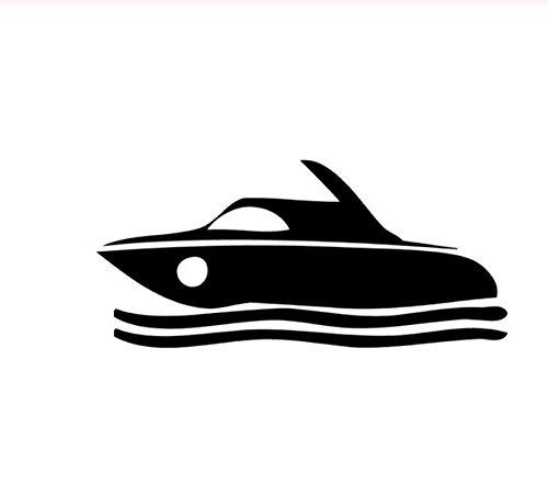 14,9 cm * 6,8 cm Motorboot Schnellboot Motorboot Mode Vinyl Auto Aufkleber Schwarz/Silber 5PCS