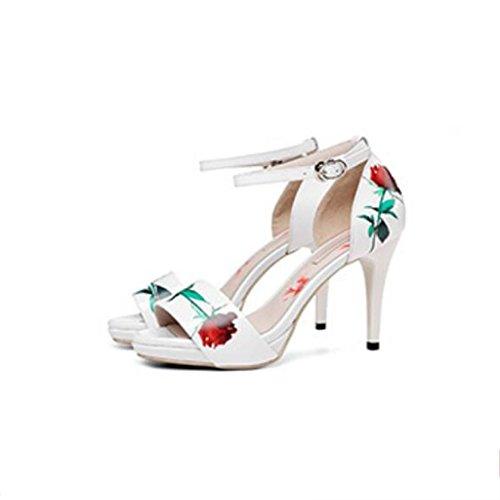 W&LM Signorina Tacchi alti sandali Bocca di pesce sandali bene Tacchi alti vera pelle parola fibbia fiori Scarpe White