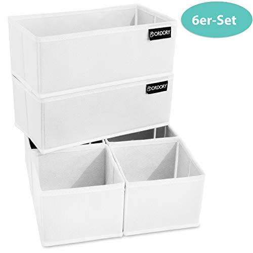 Große Box E-commerce (Ordory® Premium Aufbewahrungsbox 6er-Set - hochwertige Faltbare Stoffbox Weiss - der perfekte Organizer für die ganze Familie)