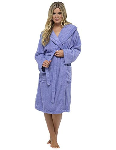 3a1dcc301 Ladies Robe Luxury Terry Towelling 100% Cotton Dressing Gown Bathrobe  (Large, Purple)